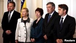Hillary Clinton i Catherine Ashton sa članovima Presjedništva BiH, 30. oktobar 2012.