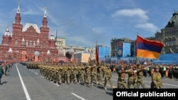 Russian - Armenian soldiers march in a WW2 military parade in Moscow's Red Square, 9May2015.
