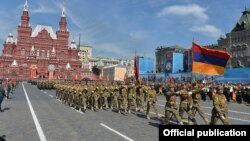 Russia -- Armenian soldiers march in a WW2 military parade in Moscow's Red Square, May 9, 2015.