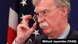 U.S. national-security adviser John Bolton speaks during a news briefing following his meetings with Georgian officials in Tbilisi on October 26.