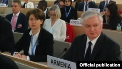Switzerland - Armenian Foreign Minister Edward Nalbandian attends a UN conference on Syrian refugees, Geneva, 30Mar2016.