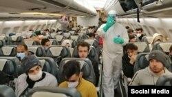 هواپیمای حامل دانشجویان و اتباع ایرانی مقیم ووهان چین که شامگاه ۱۵ بهمن پارسال به ایران برگشتند.