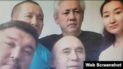 Подключенные к онлайн-заседанию из СИЗО активисты Диана Баймагамбетова, Асхат Жексебаев (в верхнем ряду в центре), Абай Бегимбетов (слева в верхнем ряду), Кайрат Клышев (слева в нижнем ряду) и Ноян Рахимжанов