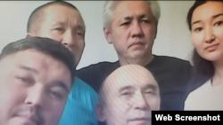 На снимке с экрана — подключенные к онлайн-заседанию из СИЗО активисты Диана Баймагамбетова, Асхат Жексебаев (в верхнем ряду в центре), Абай Бегимбетов (слева в верхнем ряду), Кайрат Клышев (слева в нижнем ряду) и Ноян Рахимжанов. 27 июля 2021 года