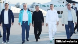 The presidents of the five countries of Central Asia: (from left to right) Kyrgyzstan's Sadyr Japarov, Kazakhstan's Qasym-Zhomart Toqaev, Uzbekistan's Shavkat Mirziyoev, Turkmenistan's Gurbanguly Berdymukhammedov, and Tajikistan's Emomali Rahmon gather in Awaza, Turkmenistan, for a summit on August 6.