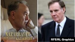 Джонатан Айткен (справа) и обложка написанной им книги о Назарбаеве