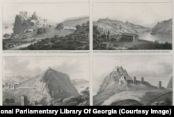 A page from one of Dubois's atlases showing various fortresses including two views of the fortress at Sudak (bottom).