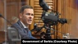 Siniša Mali, ministar finansija Srbije u parlamentu . Srbija, Beograd, 5. oktobar 2021.