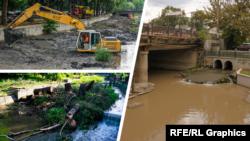 Загрязнение русла реки Салгир в Симферополе. Коллаж