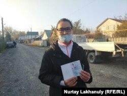 Этническая казашка Кайша Акан, получившая статус беженца на год. Алматинская область, 30 октября 2020 год.