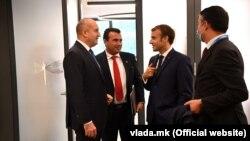 Румен Радев, Зоран Заев, Емануел Макрон и Никола Димитров на Самитот ЕУ-Западен Балкан во Брдо кај Крањ, 6 октомври 2021