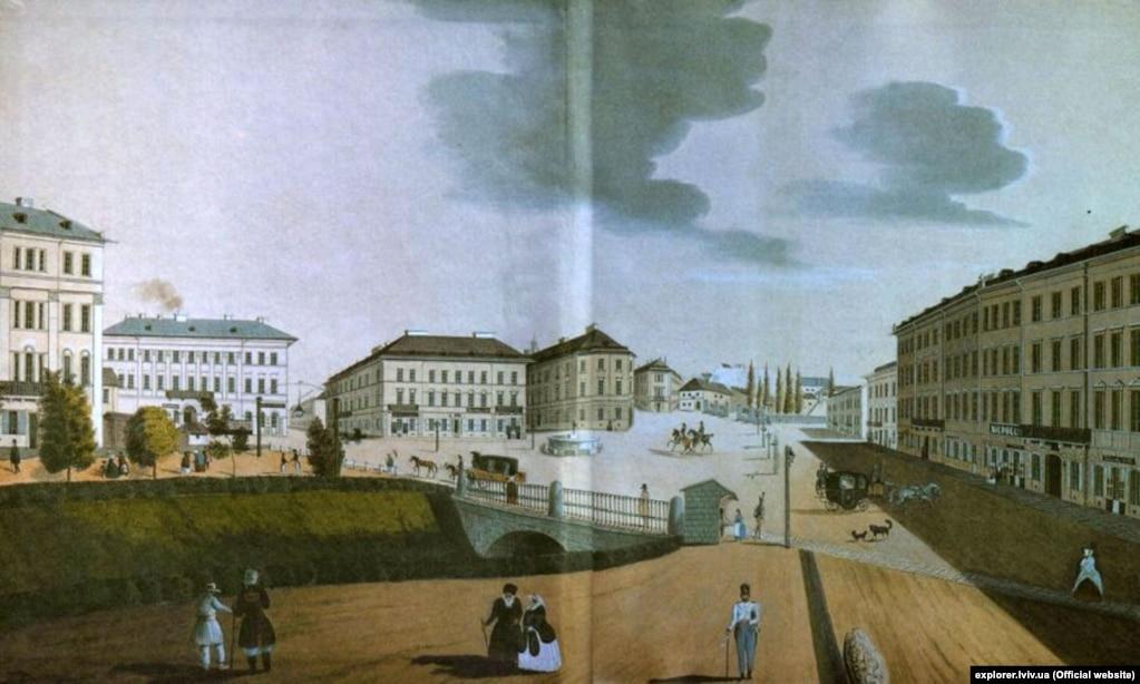 Площа Фердинанда (теперішня площа Міцкевича), частково перекрита річка. Акварель А. Гаттона, 1847 року