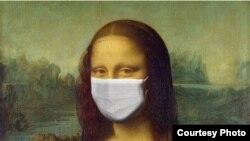 Mona Lisa cu mască de protecţie. Petiţie pentru ajutorarea liber-profesioniştilor (screenshot)