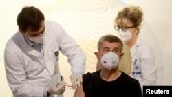 Премьер-министр Чехии Андрей Бабиш получает прививку вакциной Pfizer-BioNTech