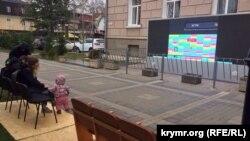 Крымчане ждут трансляцию пресс-конференции Владимира Путина. Симферополь, 14 декабря 2017 года