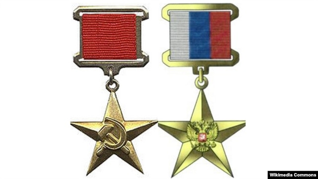 "The new Russian ""Hero of Labor"" medal (right) has a different design to it old Soviet-era counterpart (left)"