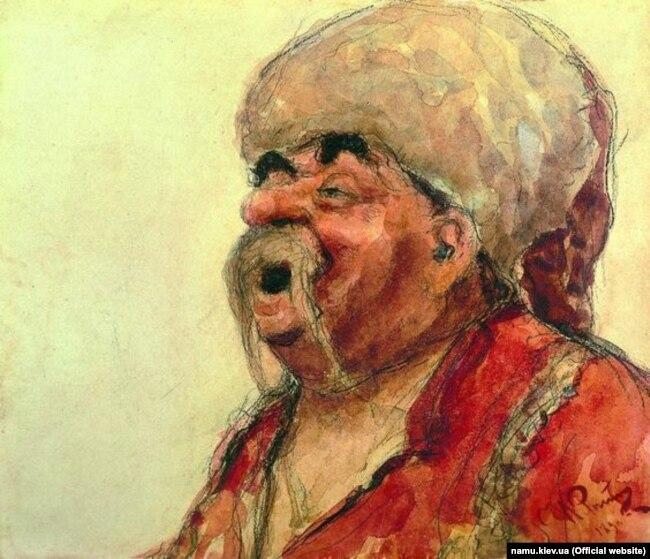 Робота художника Іллі Рєпіна (Ріпина). «Запорожець, що сміється», 1890 рік. Акварель для полотна «Запорожці пишуть листа турецькому султанові. НХМУ