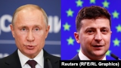 Russian President Vladimir Putin (left) and Ukrainian President Volodymyr Zelensky (combo photo)