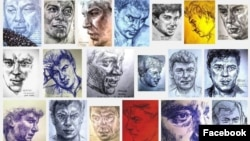 A montage of some of the portraits of Boris Nemtsov that Lena Hades has done as part of her Art Marathon project.