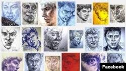 Montaj al unora din potretele lui Boris Nemțov din proiectul artistei Lena Hades.