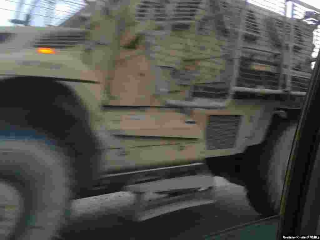 A U.S. military vehicle outside Bagram Air Base.