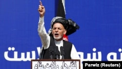 Afghan President Ashraf Ghani addressed a gathering in Jalalabad on March 3.