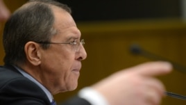 Foreign Minister Sergei Lavrov at his press conference on January 23.