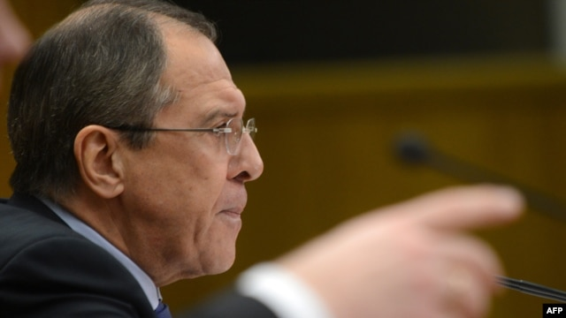 Russian Foreign Minister Sergei Lavrov holds his traditional start-of-the-year press conference in Moscow on January 23.