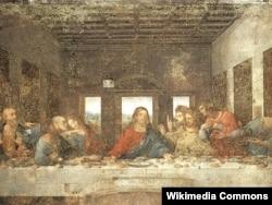 """Леонардо да Винчидің Миландағы әйгілі """"Ғайсаның соңғы қонақасы"""" картинасы."""