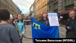 Пикет в поддержку крымских татар. Петербург, 18 июля 2017 года.