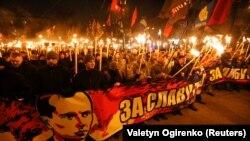 Шествие, приуроченное к 109-й годовщине со дня рождения Степана Бандеры. Киев, 1 января 2018 года.
