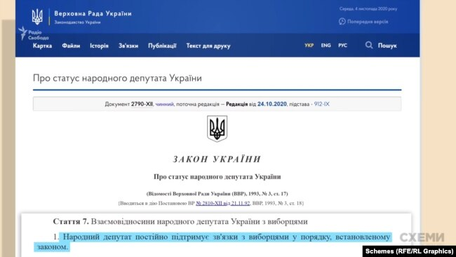 За законом про «Статус народного депутата», парламентар «постійно підтримує зв'язки з виборцями у порядку, встановленому законом»