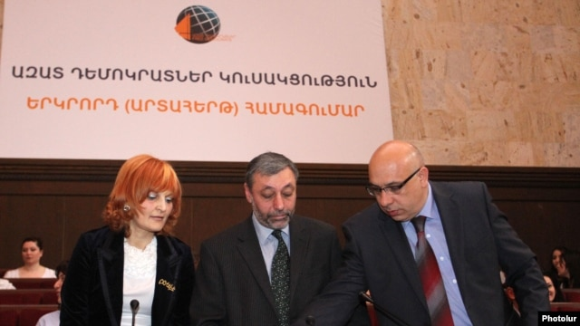 Armenia -- Anush Sedrakian (L) and other leaders of the Free Democrats open a party congress in Yerevan, 16Mar2012.
