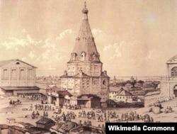 Николо-Гостинодворская церковь в Гостином дворе в 1830-е годы. Рисунок Эдуарда Турнерелли