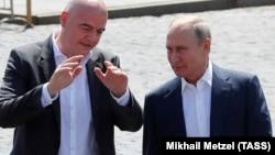 Джанни Инфантино с Владимиром Путиным