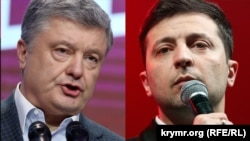 A combination photo of Ukrainian President Petro Poroshenko (left) and his election challenger Volodymyr Zelenskiy.