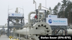 A landing station for the Baltic Sea pipeline Nord Stream 2 in Lubmin, Germany