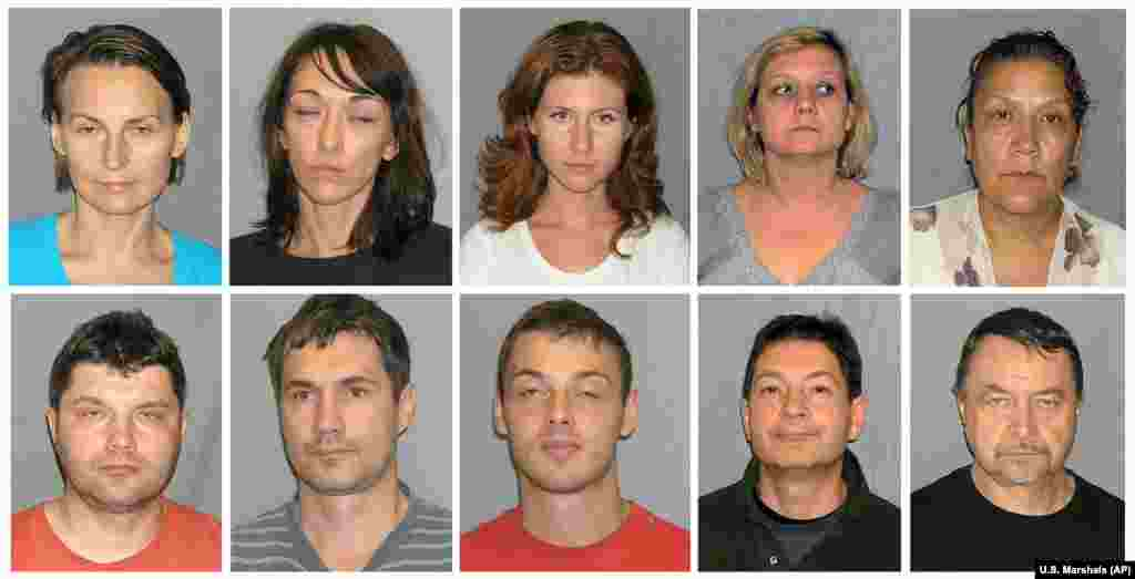 The 10 Russian who were released by the United States in the July 9, 2010, spy swap had been arrested by the FBI on June 27 and charged with acting as unregistered foreign agents. From top left: Lydia Guryev; Natalia Pereverzeva; Anna Chapman; Elena Vavilova; and Vicky Pelaez. From bottom left: Vladimir Guryev; Mikhail Kutsik; Mikhail Semenko; Andrei Bezrukov; and Mikhail Vasenkov. All of them pleaded guilty to conspiring to act as unregistered agents of a foreign country.