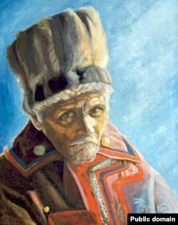 """XX кылымдагы алтайлыктардын """"Гомери"""", дастанчы (кайчы) Алексей Григорьевич Калкиндин (3.4.1925—18.8.1998) А.Кулажи тарткан сүрөтү."""