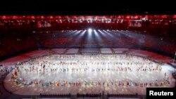 Rio-2016 Olimpia oýunlarynyň gutardyş dabarasyndan bir pursat.
