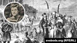 Выява Габрыэля Есьмана са старога здымку на фоне малюнку паўстанцкага атраду.