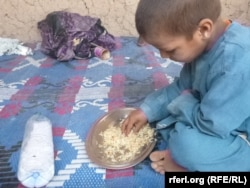 کودک بیجا شده در نتیجه جنگها در ولایت هلمند، جنوب افغانستان