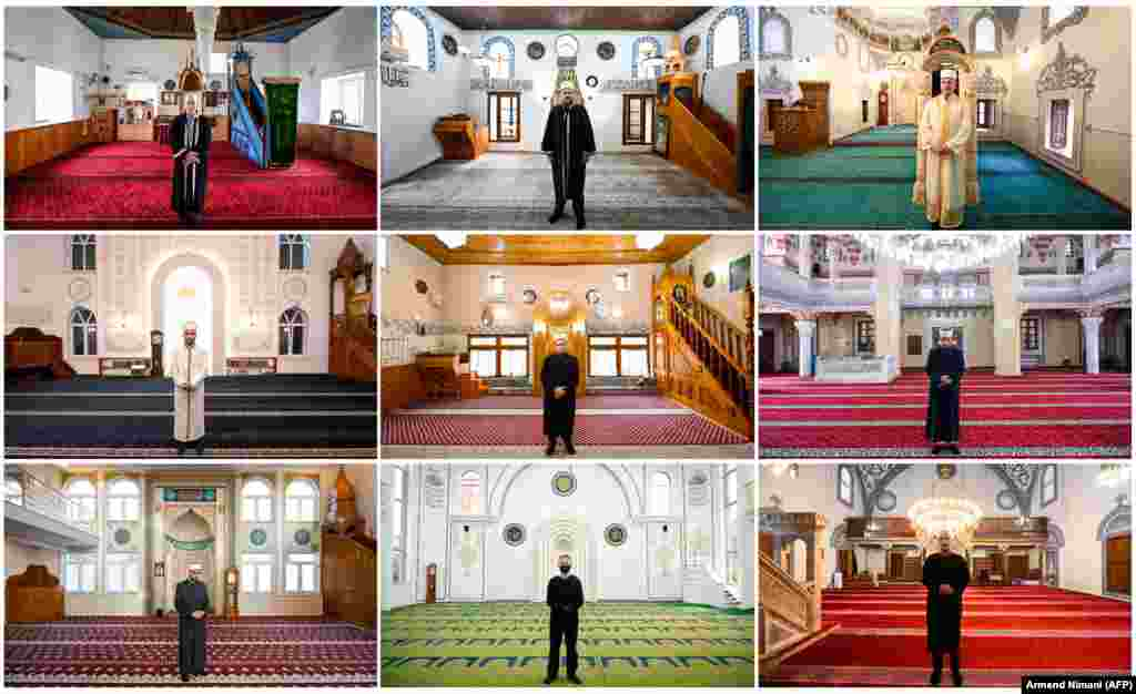 Imams across Kosovo posed in their empty mosques as the holy month of Ramadan neared its end. Kosovo's mosques have been closed since March 14 to prevent the spread of the coronavirus.