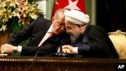 حسن روحانی و رجب طیب اردوغان، روسای جمهوری ایران و ترکیه
