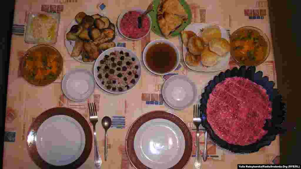 A traditional Christmas meal in Dnipropetrovsk, Ukraine