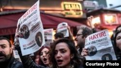 Акция протеста против результатов общенационального референдума по изменениям в Конституцию Турции, Стамбул6 апрель 2017 года.