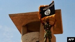 A militant of the Islamic State of Iraq and the Levant (ISIL) poses with a trademark Islamist flag after the group allegedly seized an Iraqi Army checkpoint in the northern province of Salah al-Din on June 11.