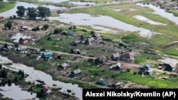 A view of an area affected by floods in the Irkutsk regional city of Tulun on July 19.
