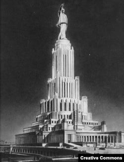 """Проект """"Дворца Советов"""". Из альбома """"Высотные здания Москвы"""" (1950)"""
