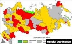Экономическая напряженность: суммарные оценки по регионам за второе полугодие 2015 года. ИСТОЧНИК ИНФОГРАФИКИ: Комитет гражданских инициатив